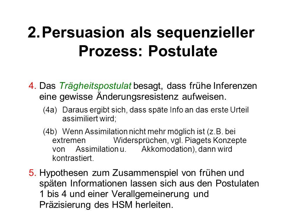 2.Persuasion als sequenzieller Prozess: Postulate 4.Das Trägheitspostulat besagt, dass frühe Inferenzen eine gewisse Änderungsresistenz aufweisen. (4a
