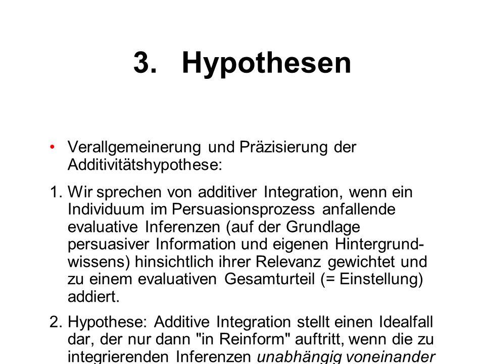 3.Hypothesen Verallgemeinerung und Präzisierung der Additivitätshypothese: 1.Wir sprechen von additiver Integration, wenn ein Individuum im Persuasion