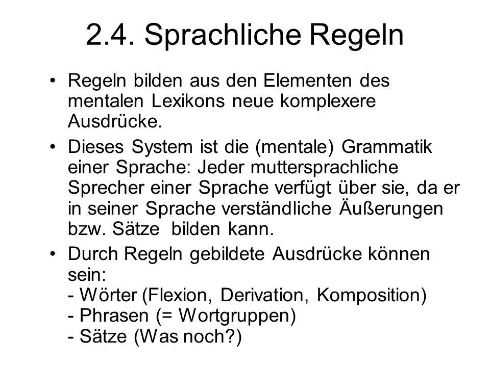 2.4. Sprachliche Regeln Regeln bilden aus den Elementen des mentalen Lexikons neue komplexere Ausdrücke. Dieses System ist die (mentale) Grammatik ein
