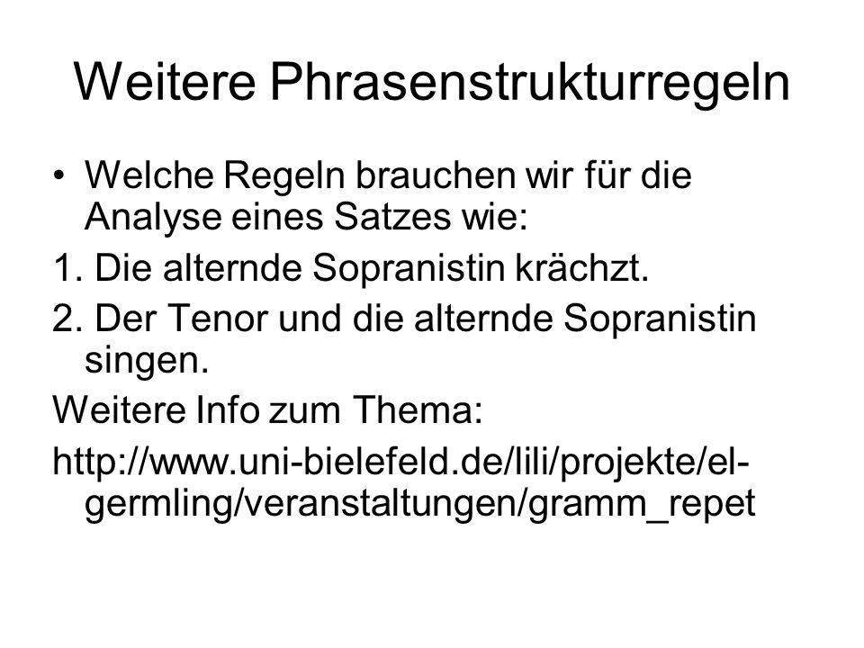 Weitere Phrasenstrukturregeln Welche Regeln brauchen wir für die Analyse eines Satzes wie: 1. Die alternde Sopranistin krächzt. 2. Der Tenor und die a