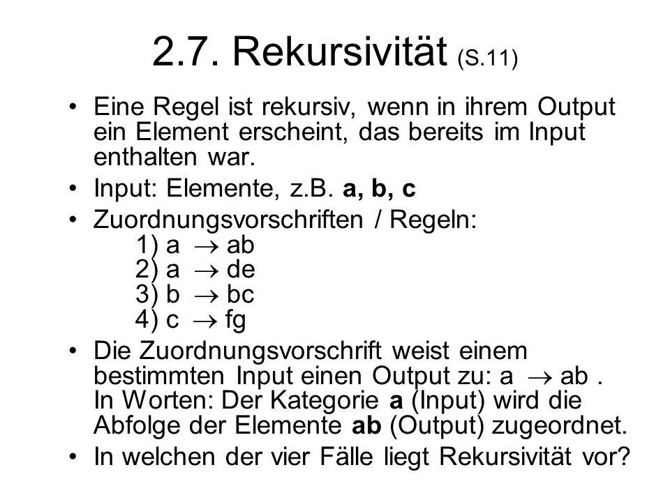 2.7. Rekursivität (S.11) Eine Regel ist rekursiv, wenn in ihrem Output ein Element erscheint, das bereits im Input enthalten war. Input: Elemente, z.B