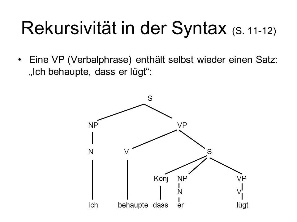 Rekursivität in der Syntax (S. 11-12) Eine VP (Verbalphrase) enthält selbst wieder einen Satz: Ich behaupte, dass er lügt: S NPVP N VS KonjNPVP NV Ich