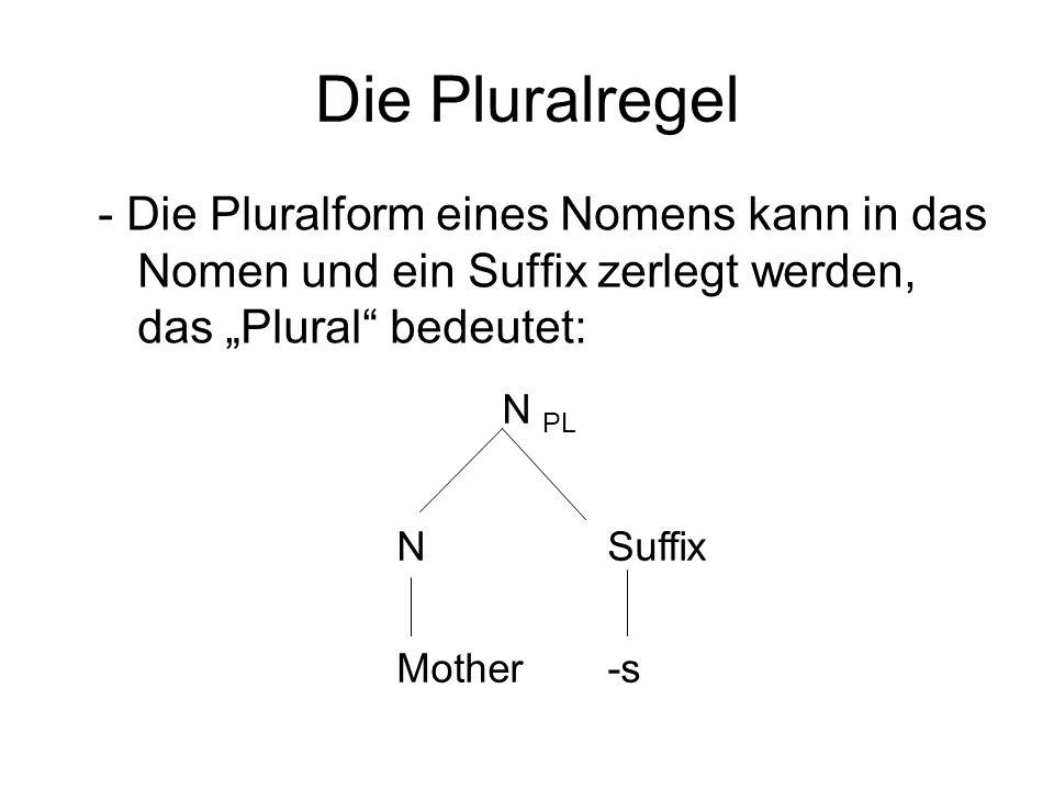 Die Pluralregel - Die Pluralform eines Nomens kann in das Nomen und ein Suffix zerlegt werden, das Plural bedeutet: N PL NSuffix Mother-s