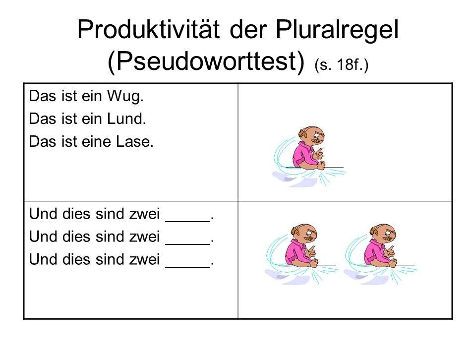 Produktivität der Pluralregel (Pseudoworttest) (s. 18f.) Das ist ein Wug. Das ist ein Lund. Das ist eine Lase. Und dies sind zwei _____.