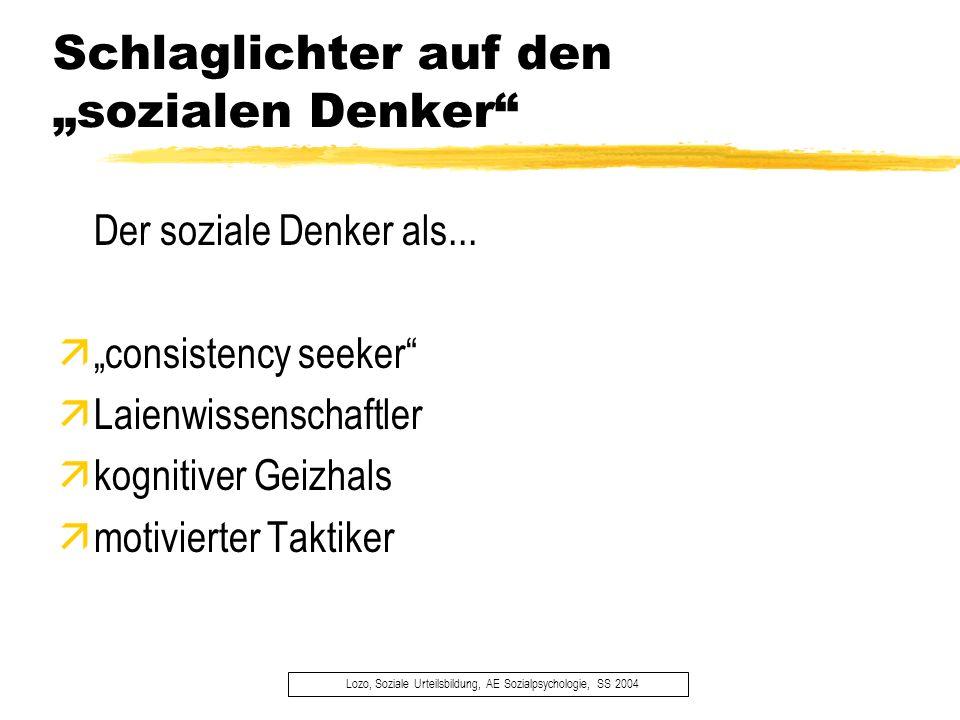 Schlaglichter auf den sozialen Denker Lozo, Soziale Urteilsbildung, AE Sozialpsychologie, SS 2004 Der soziale Denker als... äconsistency seeker äLaien