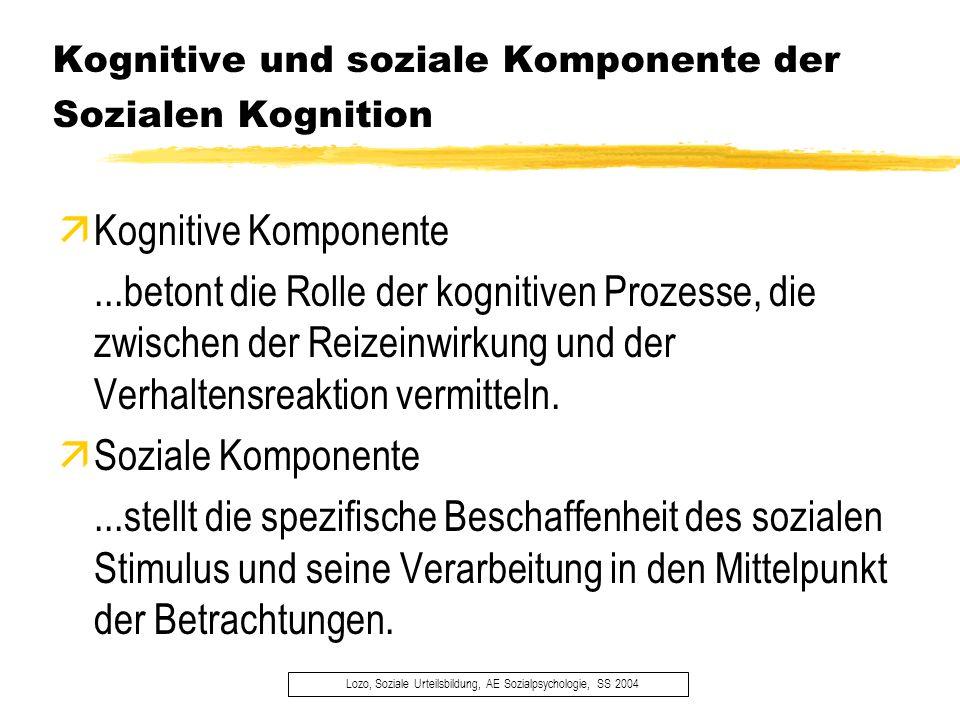 Kognitive und soziale Komponente der Sozialen Kognition Lozo, Soziale Urteilsbildung, AE Sozialpsychologie, SS 2004 äKognitive Komponente...betont die