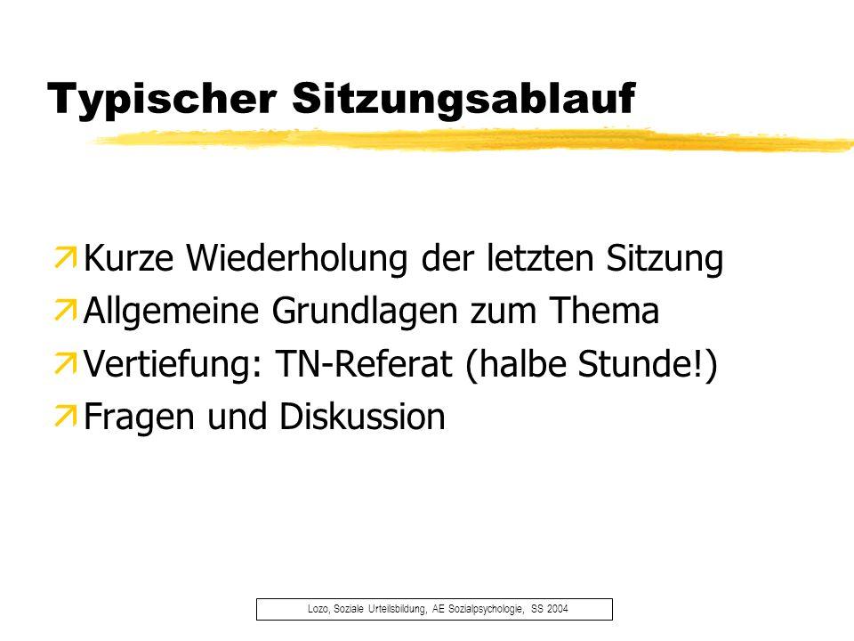 Scheinkriterien Lozo, Soziale Urteilsbildung, AE Sozialpsychologie, SS 2004 äRegelmäßige und aktive Teilnahme äReferat (halbe Stunde!) äZusammenfassung wichtigster Gesichtspunkte (1 Blatt)