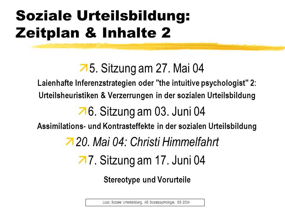 Soziale Urteilsbildung: Zeitplan & Inhalte 2 Lozo, Soziale Urteilsbildung, AE Sozialpsychologie, SS 2004 5. Sitzung am 27. Mai 04 Laienhafte Inferenzs