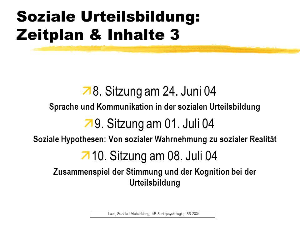Soziale Urteilsbildung: Zeitplan & Inhalte 3 Lozo, Soziale Urteilsbildung, AE Sozialpsychologie, SS 2004 8. Sitzung am 24. Juni 04 Sprache und Kommuni