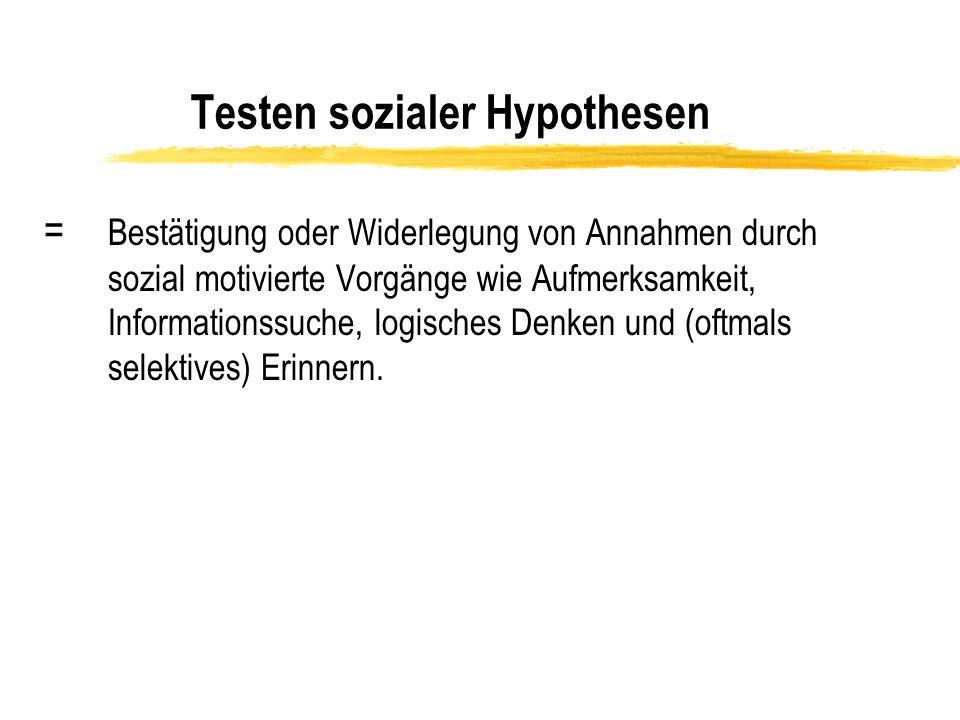 Testen sozialer Hypothesen = Bestätigung oder Widerlegung von Annahmen durch sozial motivierte Vorgänge wie Aufmerksamkeit, Informationssuche, logisch