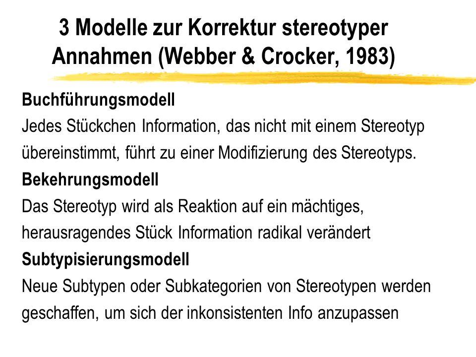 3 Modelle zur Korrektur stereotyper Annahmen (Webber & Crocker, 1983) Buchführungsmodell Jedes Stückchen Information, das nicht mit einem Stereotyp üb
