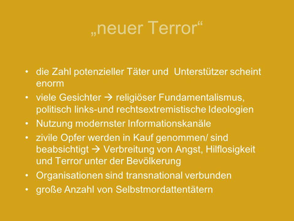 neuer Terror die Zahl potenzieller Täter und Unterstützer scheint enorm viele Gesichter religiöser Fundamentalismus, politisch links-und rechtsextremi