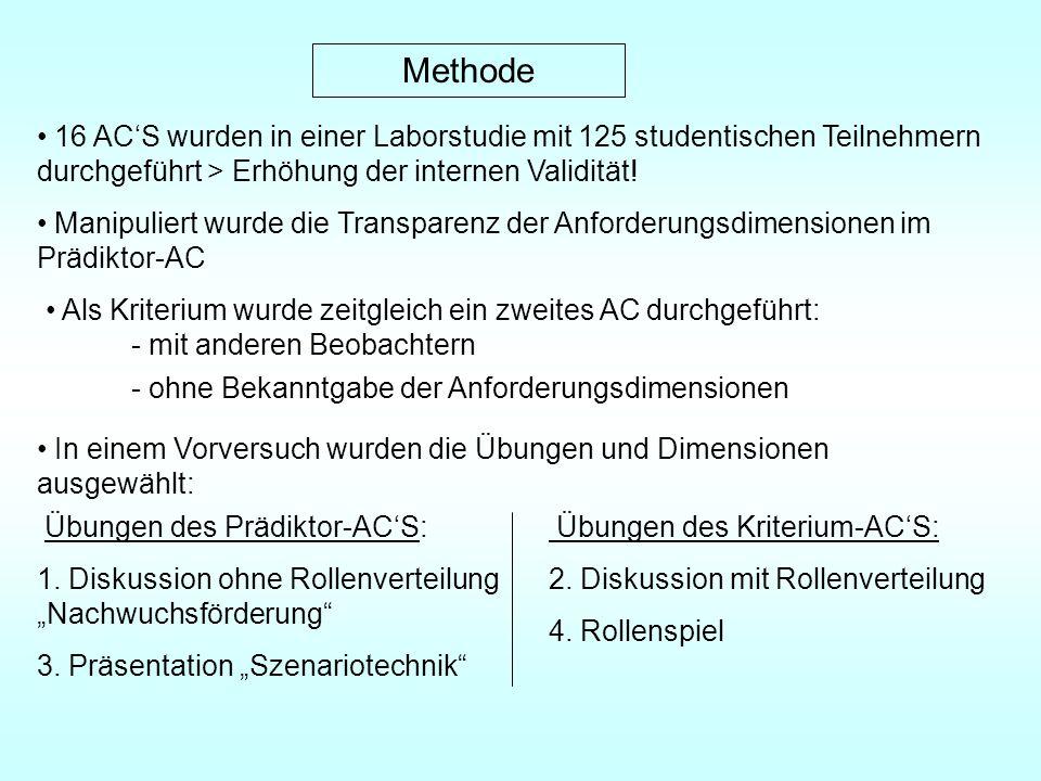 Methode 16 ACS wurden in einer Laborstudie mit 125 studentischen Teilnehmern durchgeführt > Erhöhung der internen Validität.