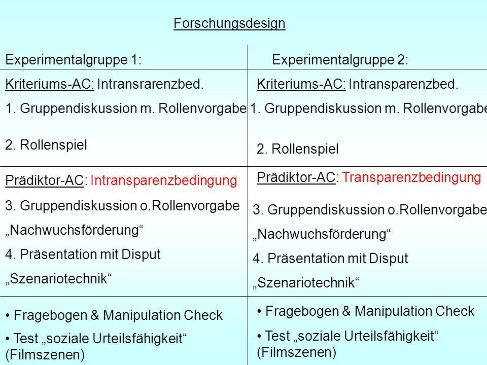 Forschungsdesign Kriteriums-AC: Intransrarenzbed.