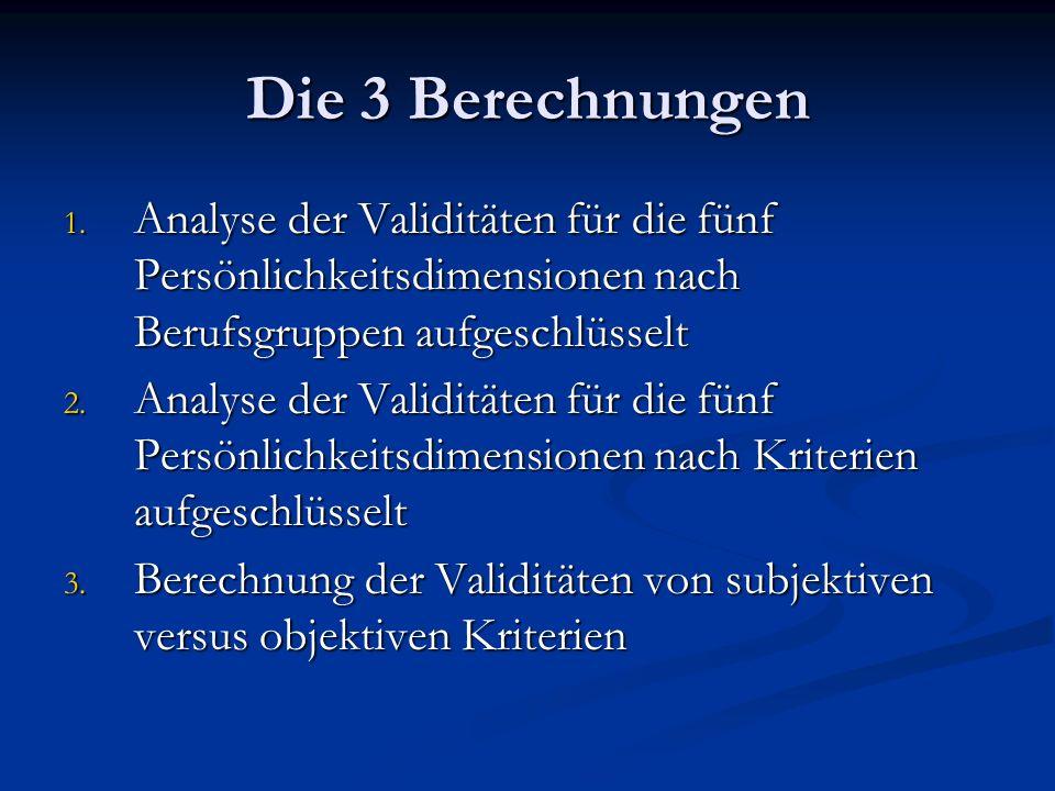 Die 3 Berechnungen 1. Analyse der Validitäten für die fünf Persönlichkeitsdimensionen nach Berufsgruppen aufgeschlüsselt 2. Analyse der Validitäten fü