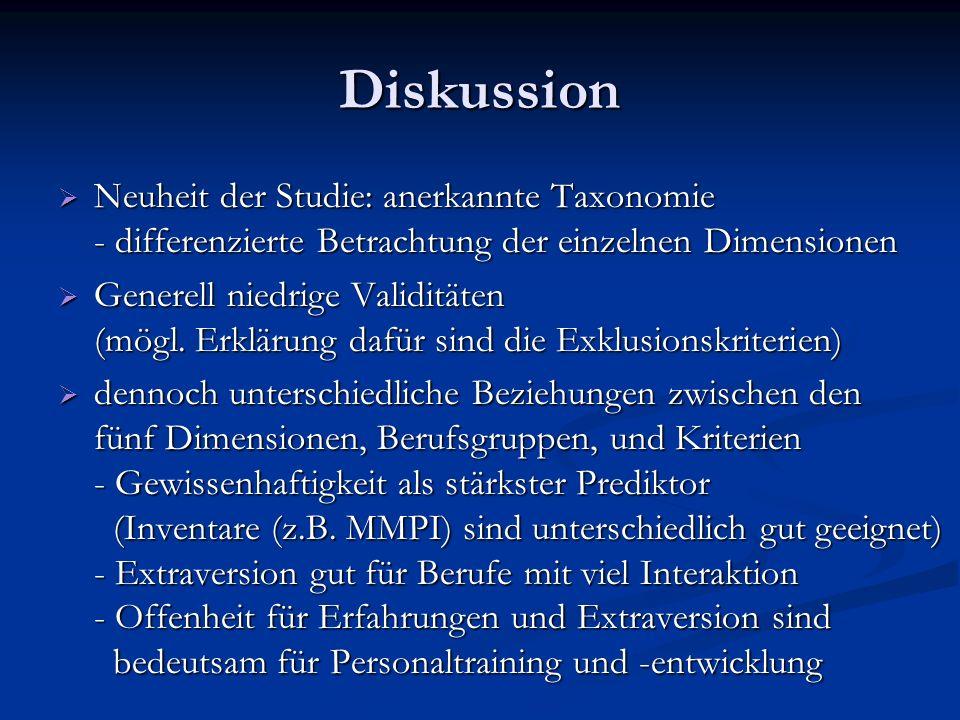 Diskussion Neuheit der Studie: anerkannte Taxonomie - differenzierte Betrachtung der einzelnen Dimensionen Neuheit der Studie: anerkannte Taxonomie -