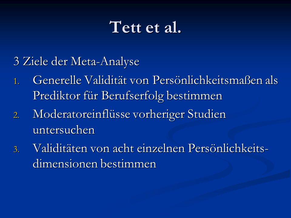 Tett et al. 3 Ziele der Meta-Analyse 1. Generelle Validität von Persönlichkeitsmaßen als Prediktor für Berufserfolg bestimmen 2. Moderatoreinflüsse vo