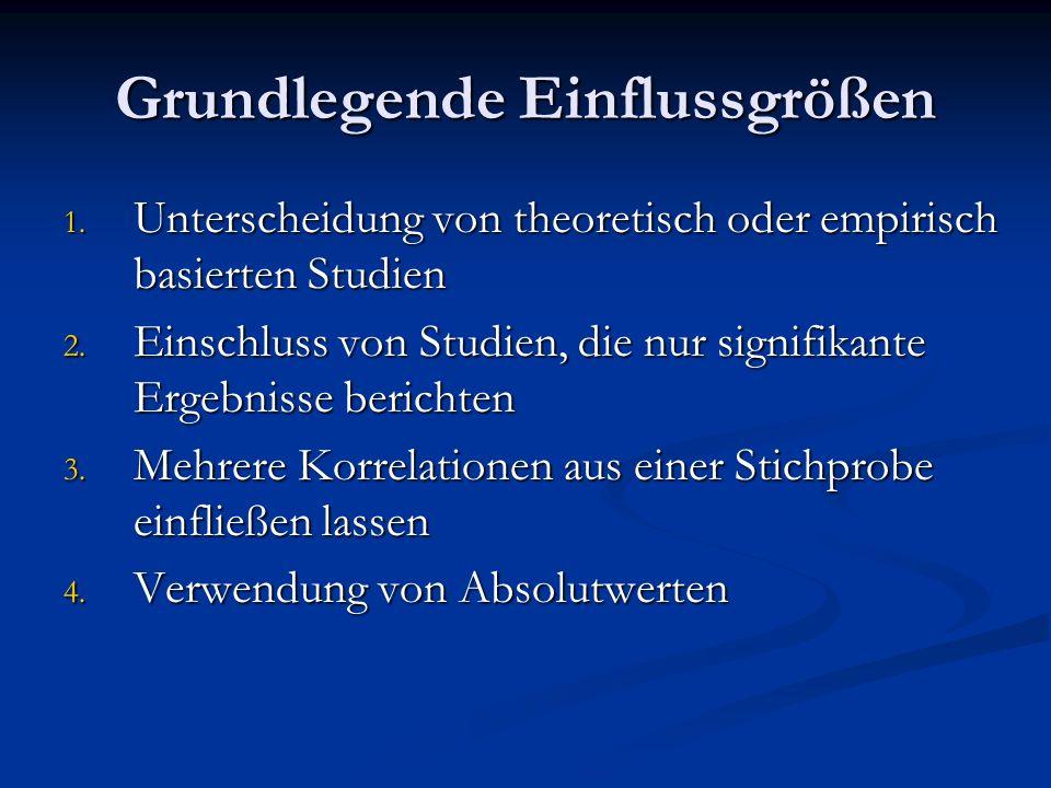 Grundlegende Einflussgrößen 1. Unterscheidung von theoretisch oder empirisch basierten Studien 2. Einschluss von Studien, die nur signifikante Ergebni
