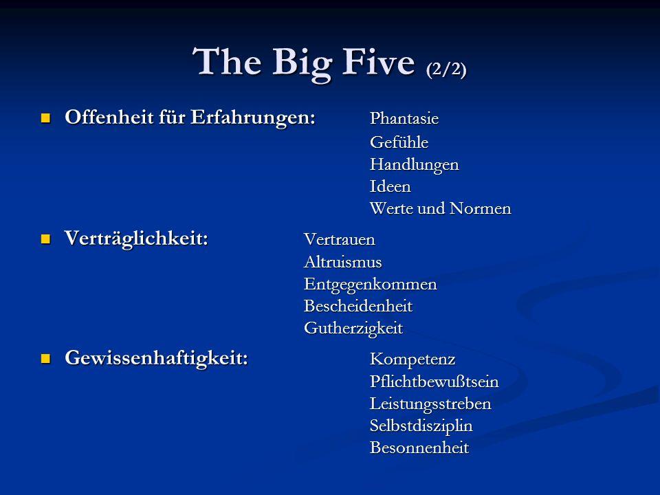 The Big Five (2/2) Offenheit für Erfahrungen: Phantasie Gefühle Handlungen Ideen Werte und Normen Offenheit für Erfahrungen: Phantasie Gefühle Handlun