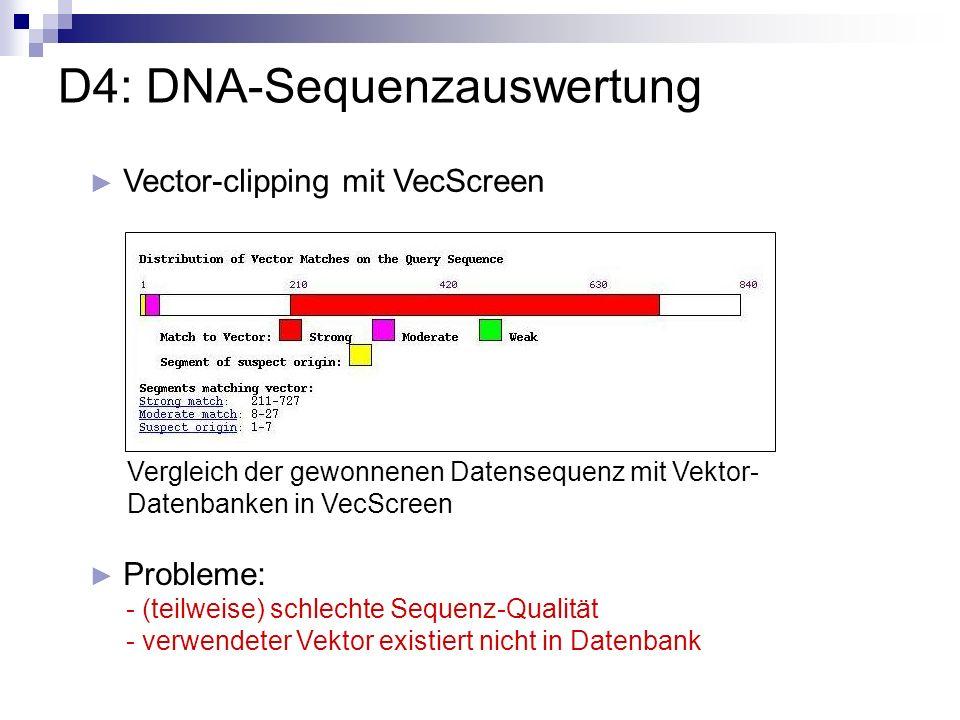 Vector-clipping mit VecScreen D4: DNA-Sequenzauswertung Vergleich der gewonnenen Datensequenz mit Vektor- Datenbanken in VecScreen Probleme: - (teilwe