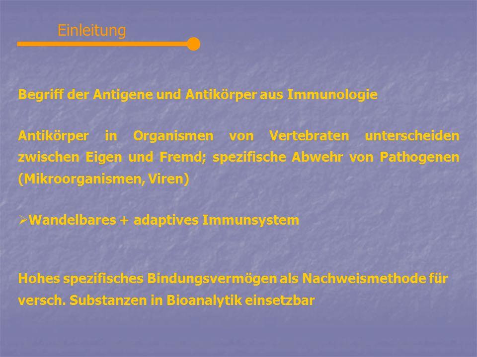 Einleitung Begriff der Antigene und Antikörper aus Immunologie Antikörper in Organismen von Vertebraten unterscheiden zwischen Eigen und Fremd; spezif