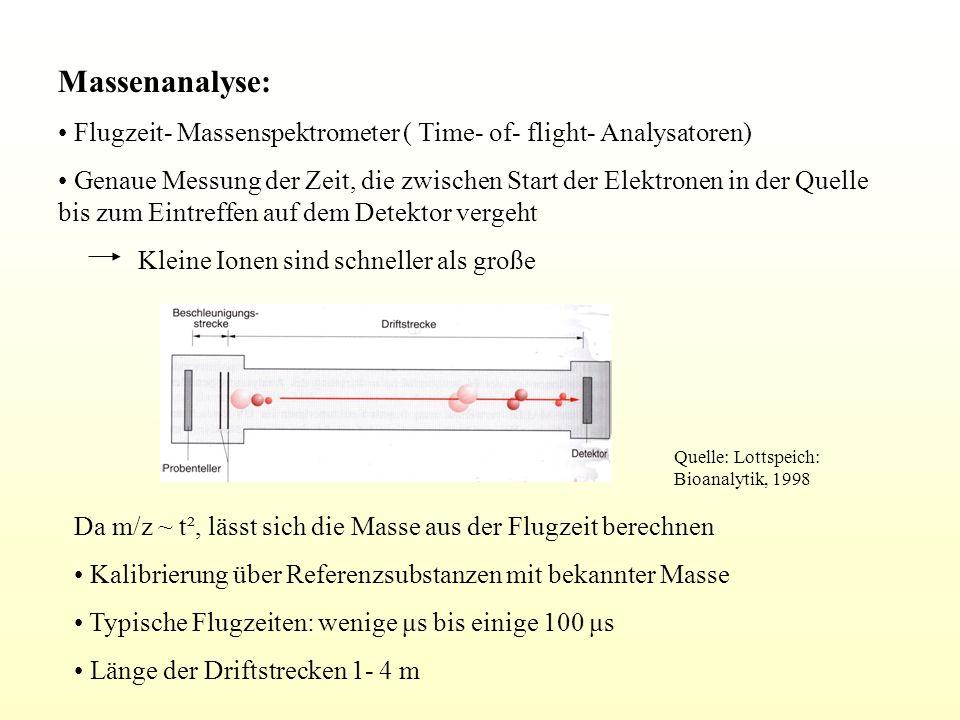 Massenanalyse: Flugzeit- Massenspektrometer ( Time- of- flight- Analysatoren) Genaue Messung der Zeit, die zwischen Start der Elektronen in der Quelle