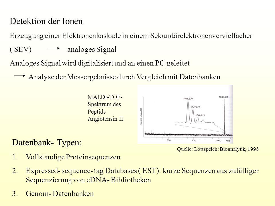 Detektion der Ionen Erzeugung einer Elektronenkaskade in einem Sekundärelektronenvervielfacher ( SEV) analoges Signal Analoges Signal wird digitalisie