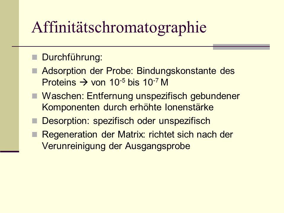 Affinitätschromatographie Durchführung: Adsorption der Probe: Bindungskonstante des Proteins von 10 -5 bis 10 -7 M Waschen: Entfernung unspezifisch ge