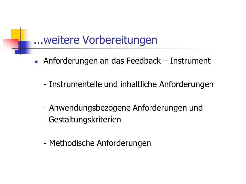 ...weitere Vorbereitungen Anforderungen an das Feedback – Instrument - Instrumentelle und inhaltliche Anforderungen - Anwendungsbezogene Anforderungen