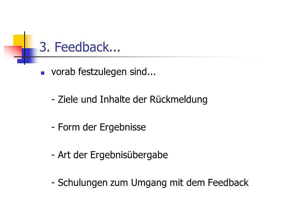 3. Feedback... vorab festzulegen sind... - Ziele und Inhalte der Rückmeldung - Form der Ergebnisse - Art der Ergebnisübergabe - Schulungen zum Umgang