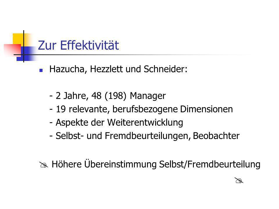 Zur Effektivität Hazucha, Hezzlett und Schneider: - 2 Jahre, 48 (198) Manager - 19 relevante, berufsbezogene Dimensionen - Aspekte der Weiterentwicklu