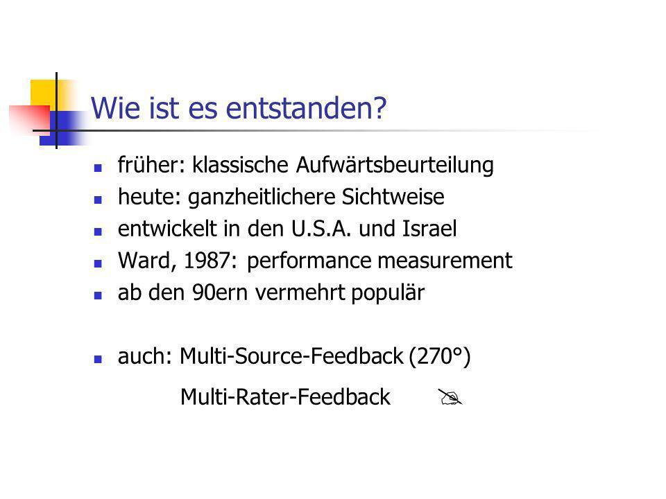 Wie ist es entstanden? früher: klassische Aufwärtsbeurteilung heute: ganzheitlichere Sichtweise entwickelt in den U.S.A. und Israel Ward, 1987: perfor