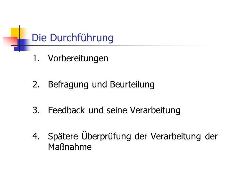 Die Durchführung 1.Vorbereitungen 2.Befragung und Beurteilung 3.Feedback und seine Verarbeitung 4.Spätere Überprüfung der Verarbeitung der Maßnahme