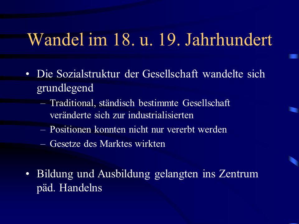 Wandel im 18. u. 19. Jahrhundert Die Sozialstruktur der Gesellschaft wandelte sich grundlegend –Traditional, ständisch bestimmte Gesellschaft veränder
