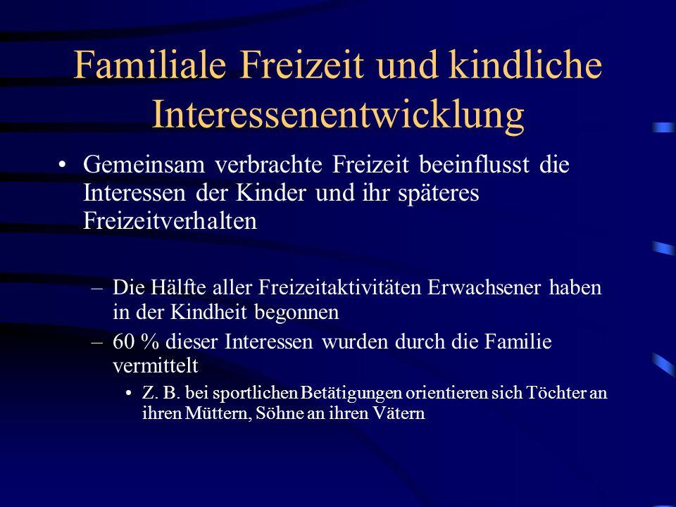 Familiale Freizeit und kindliche Interessenentwicklung Gemeinsam verbrachte Freizeit beeinflusst die Interessen der Kinder und ihr späteres Freizeitve