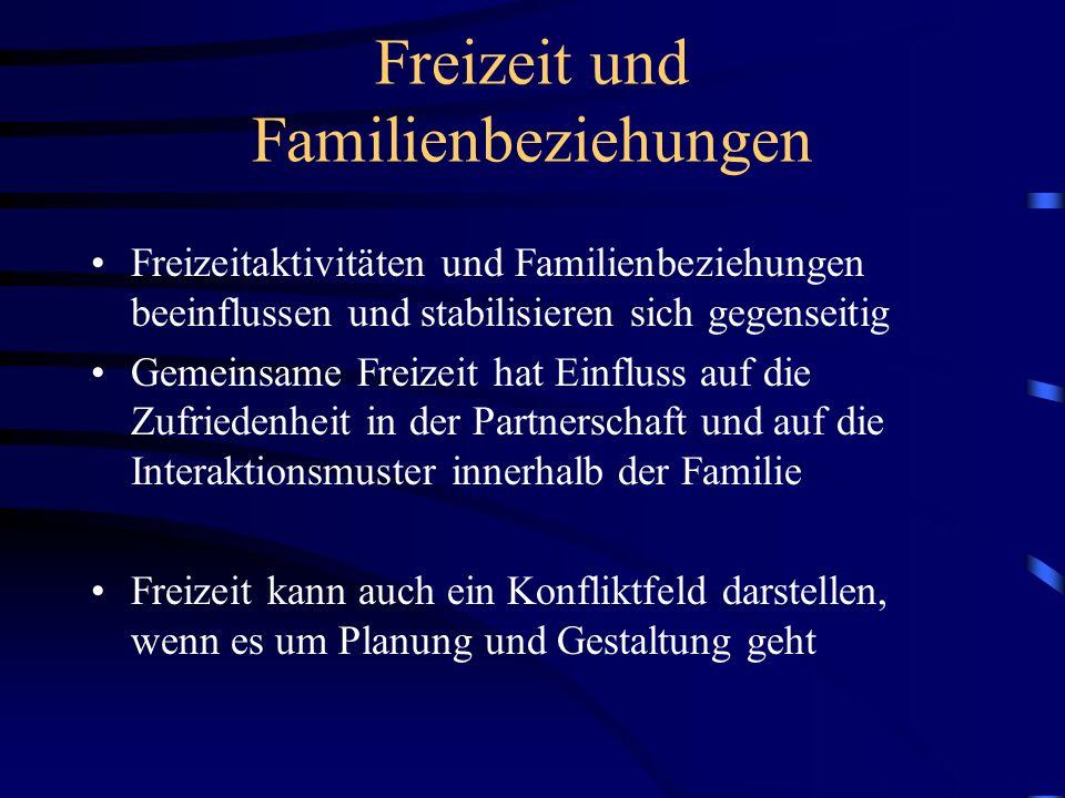 Freizeit und Familienbeziehungen Freizeitaktivitäten und Familienbeziehungen beeinflussen und stabilisieren sich gegenseitig Gemeinsame Freizeit hat E