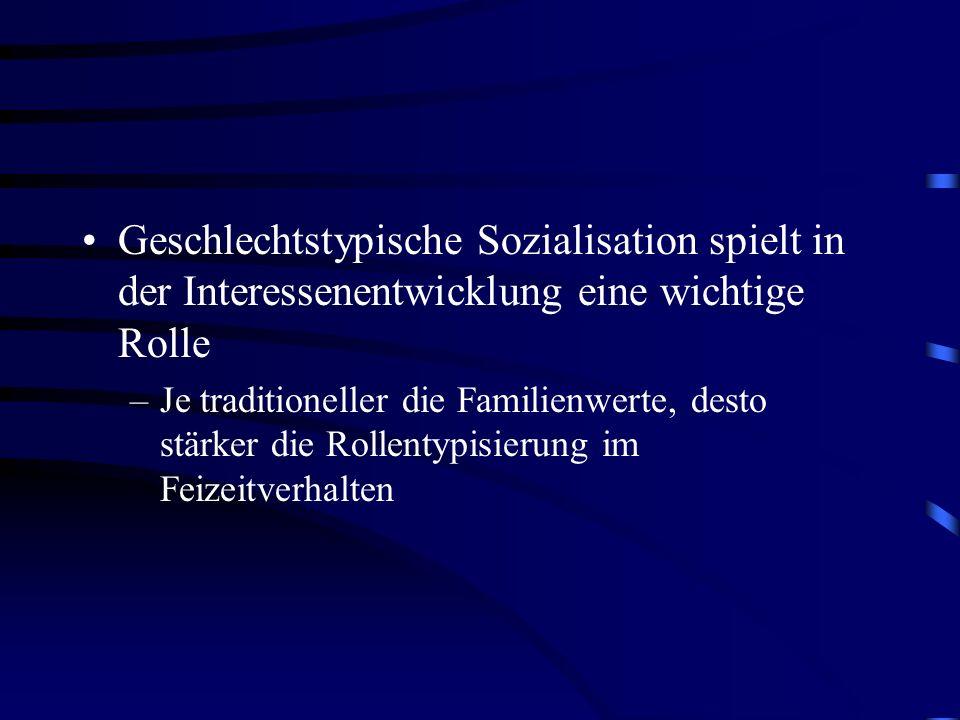 Geschlechtstypische Sozialisation spielt in der Interessenentwicklung eine wichtige Rolle –Je traditioneller die Familienwerte, desto stärker die Roll