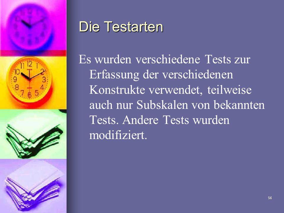 14 Die Testarten Es wurden verschiedene Tests zur Erfassung der verschiedenen Konstrukte verwendet, teilweise auch nur Subskalen von bekannten Tests.