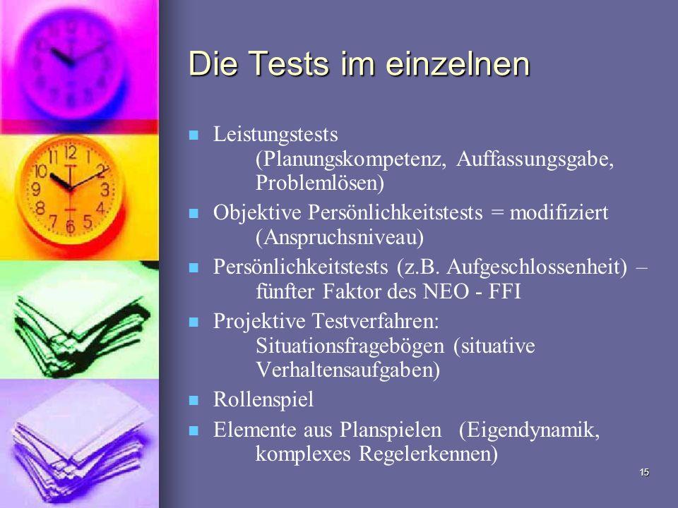15 Die Tests im einzelnen Leistungstests (Planungskompetenz, Auffassungsgabe, Problemlösen) Objektive Persönlichkeitstests = modifiziert (Anspruchsniv