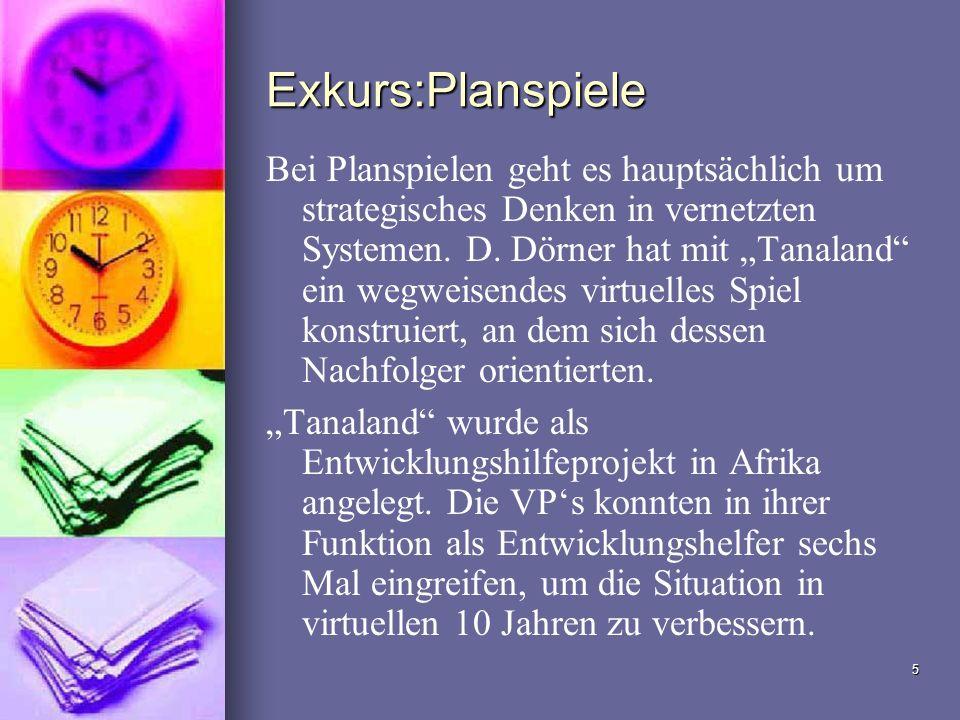 5 Exkurs:Planspiele Bei Planspielen geht es hauptsächlich um strategisches Denken in vernetzten Systemen. D. Dörner hat mit Tanaland ein wegweisendes