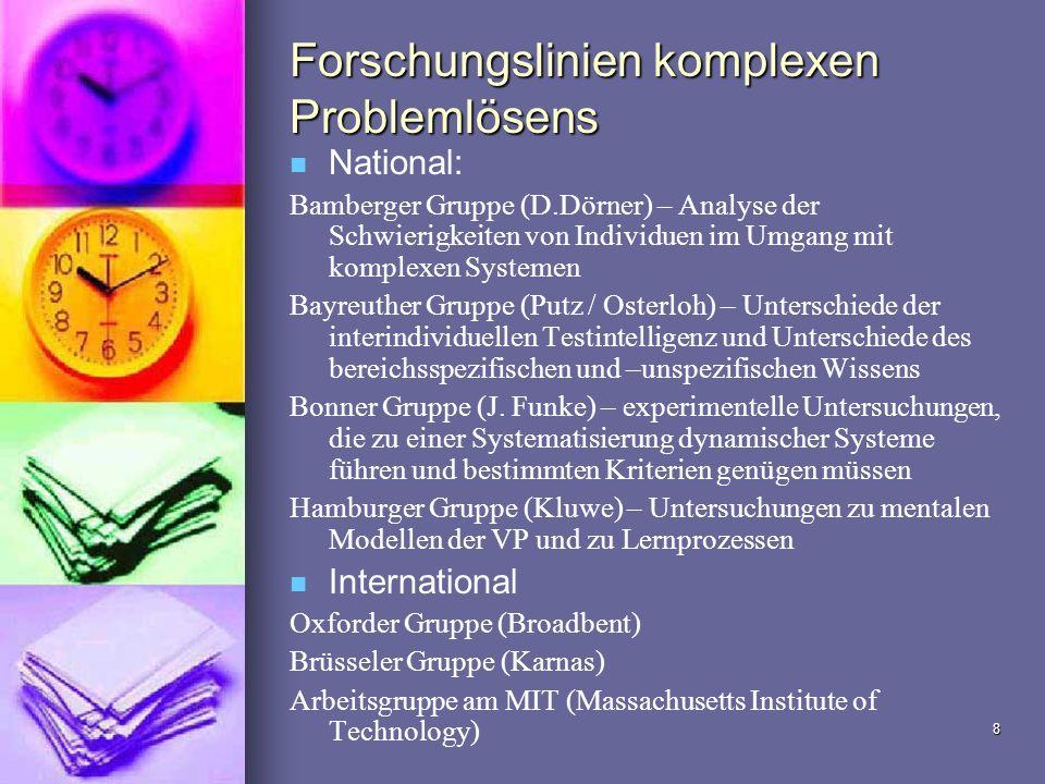 8 Forschungslinien komplexen Problemlösens National: Bamberger Gruppe (D.Dörner) – Analyse der Schwierigkeiten von Individuen im Umgang mit komplexen