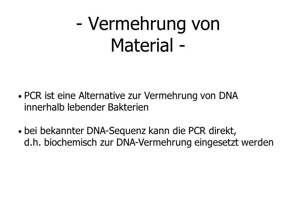 - Vermehrung von Material - PCR ist eine Alternative zur Vermehrung von DNA innerhalb lebender Bakterien bei bekannter DNA-Sequenz kann die PCR direkt