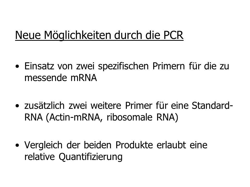 Neue Möglichkeiten durch die PCR Einsatz von zwei spezifischen Primern für die zu messende mRNA zusätzlich zwei weitere Primer für eine Standard- RNA