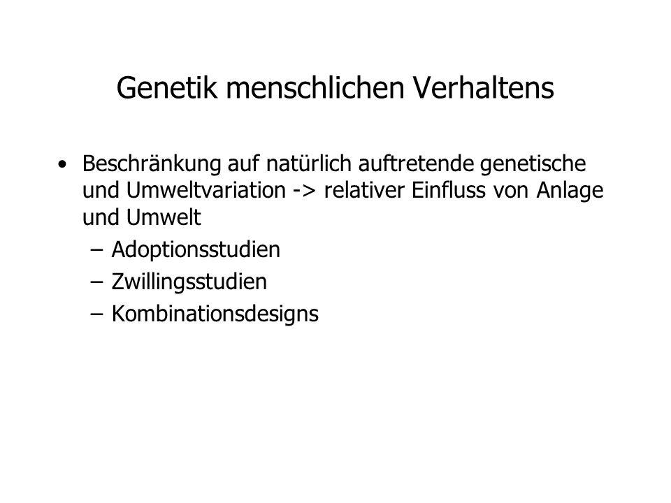 Genetik menschlichen Verhaltens Beschränkung auf natürlich auftretende genetische und Umweltvariation -> relativer Einfluss von Anlage und Umwelt –Adoptionsstudien –Zwillingsstudien –Kombinationsdesigns