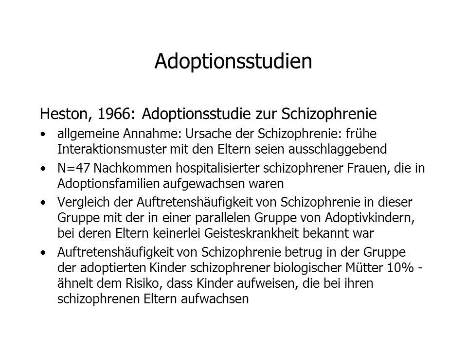 Adoptionsstudien Heston, 1966: Adoptionsstudie zur Schizophrenie allgemeine Annahme: Ursache der Schizophrenie: frühe Interaktionsmuster mit den Eltern seien ausschlaggebend N=47 Nachkommen hospitalisierter schizophrener Frauen, die in Adoptionsfamilien aufgewachsen waren Vergleich der Auftretenshäufigkeit von Schizophrenie in dieser Gruppe mit der in einer parallelen Gruppe von Adoptivkindern, bei deren Eltern keinerlei Geisteskrankheit bekannt war Auftretenshäufigkeit von Schizophrenie betrug in der Gruppe der adoptierten Kinder schizophrener biologischer Mütter 10% - ähnelt dem Risiko, dass Kinder aufweisen, die bei ihren schizophrenen Eltern aufwachsen