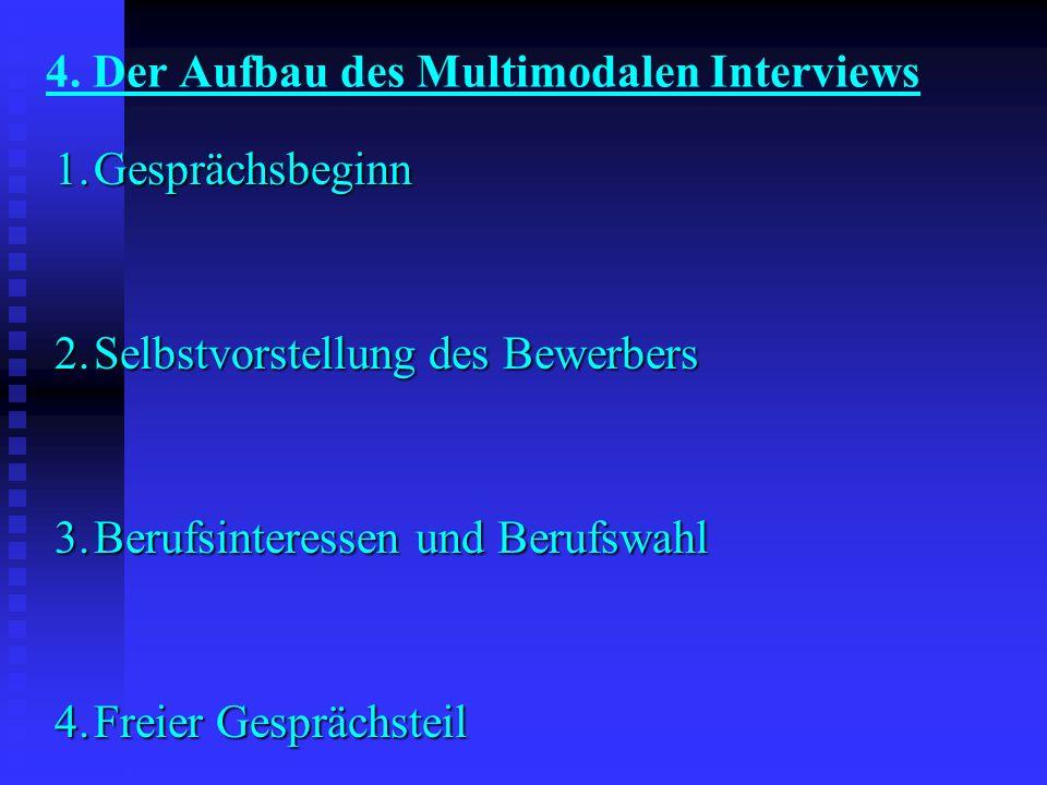 4. Der Aufbau des Multimodalen Interviews 1.Gesprächsbeginn 2.Selbstvorstellung des Bewerbers 3.Berufsinteressen und Berufswahl 4.Freier Gesprächsteil