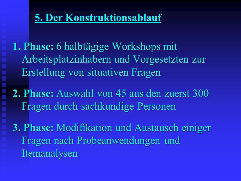 5. Der Konstruktionsablauf 1. Phase: 6 halbtägige Workshops mit Arbeitsplatzinhabern und Vorgesetzten zur Erstellung von situativen Fragen 2. Phase: A