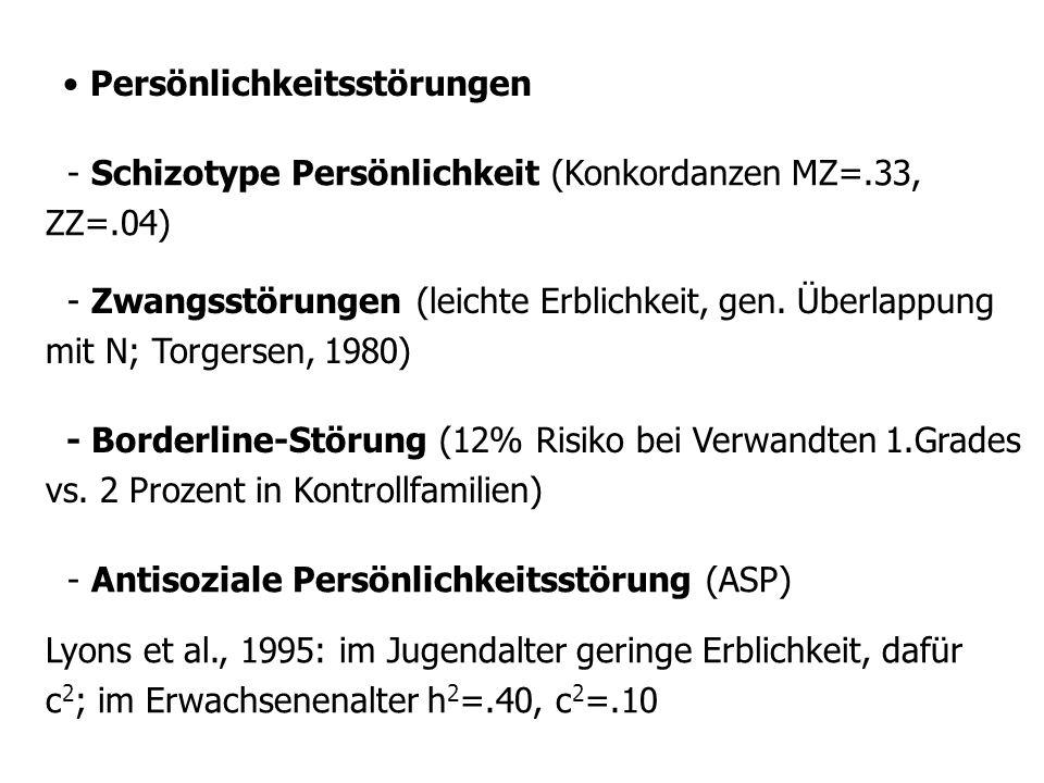 Persönlichkeitsstörungen - Schizotype Persönlichkeit (Konkordanzen MZ=.33, ZZ=.04) - Zwangsstörungen (leichte Erblichkeit, gen.