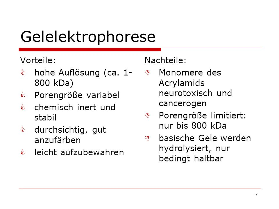 7 Gelelektrophorese Vorteile: hohe Auflösung (ca. 1- 800 kDa) Porengröße variabel chemisch inert und stabil durchsichtig, gut anzufärben leicht aufzub