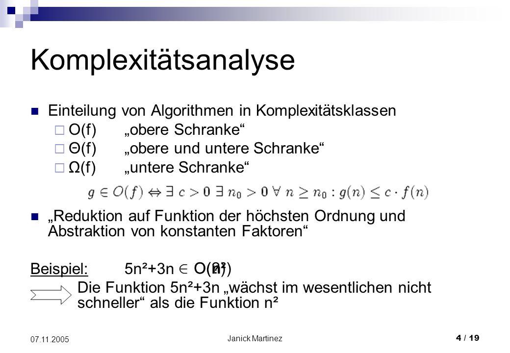 Janick Martinez4 / 19 07.11.2005 Komplexitätsanalyse Einteilung von Algorithmen in Komplexitätsklassen O(f)obere Schranke Θ(f)obere und untere Schranke Ω(f)untere Schranke Reduktion auf Funktion der höchsten Ordnung und Abstraktion von konstanten Faktoren Beispiel:5n²+3n Die Funktion 5n²+3n wächst im wesentlichen nicht schneller als die Funktion n² O( )O(n²)